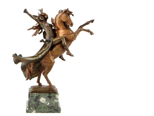A patinated bronze figure of Valkyrie