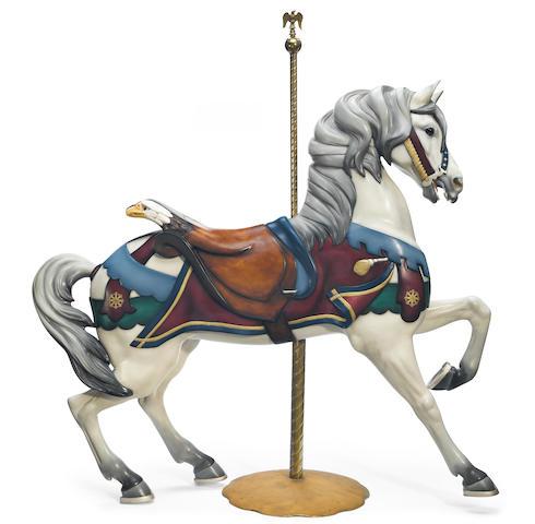 A Gustav Dentzel horse double eagle stander