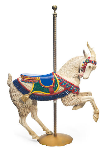 A carved and paint decorated carousel prancing goat <BR />Herschell Spillman, North Tonawanda, New York <BR />early 20th century