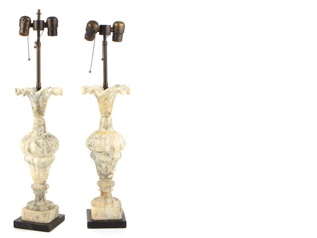 A pair of Neoclassical style alabaster urns now mounted as table lamps