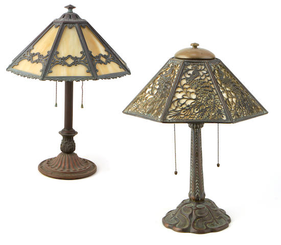 Two American slag glass and patinated metal table lamps early 20th century