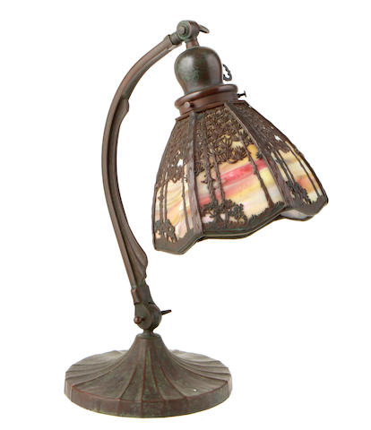 A Handel patinated filigree metal landscape table desk lamp early 20th century