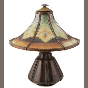 An American patinated-metal and glass table lamp