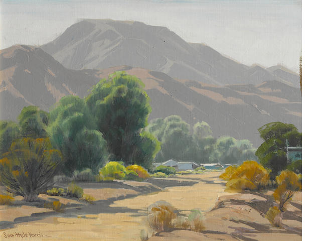 Sam Hyde Harris (American, 1889-1977) Ranch by a wash 16 x 20in
