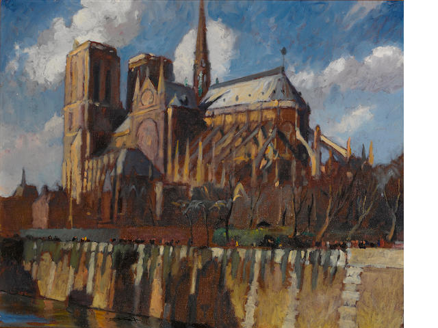 Emil Jean Kosa, Jr. (American, 1903-1968) Notre Dame Cathedral, Paris 19 1/4 x 23 3/4in