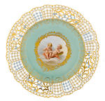 A harlequin set of five Meissen porcelain reticulated cabinet plates late 19th century