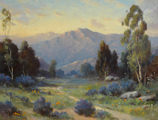 Alexis Matthew Podchernikoff (Russian/American, 1886-1933) Sunset, Santa Barbara mountain 18 1/4 x 24 1/4in