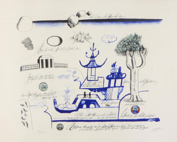 Saul Steinberg (American, 1914-1999); Blue Pagoda 2;