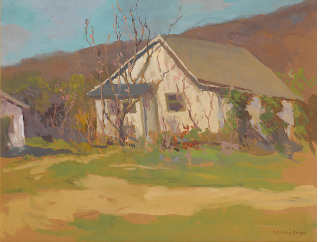 Mary Deneale Morgan, Cottage, gouache/pp, 19 x 25in