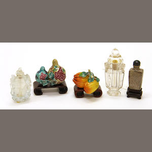 An assembled grouping of five snuff bottles