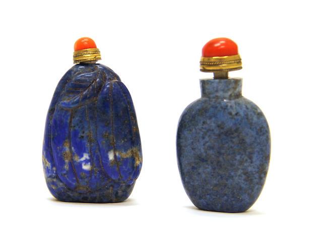 Two lapis lazuli snuff bottles