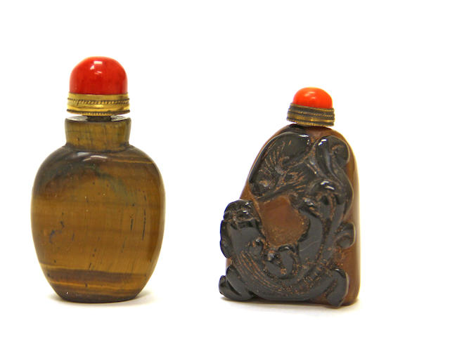 Two carved stone snuff bottles