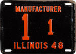 A set of original  1948  Illinois Manufacturing plates issued to the Tucker Corporation,  1/1,