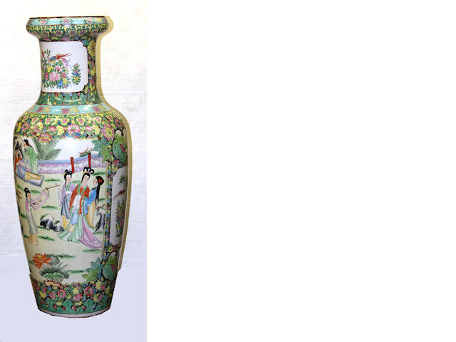 A massive famille rose enameled porcelain floor vase  China, contemporary