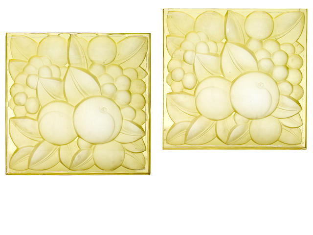 Two R. Lalique glass fruit plaques from the Oviatt building