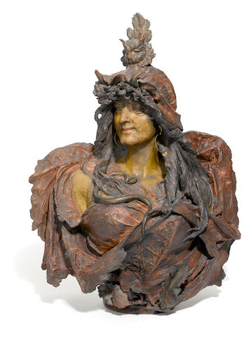 A Stellmacher terracotta bust of Sarah Bernhardt as Cleopatra