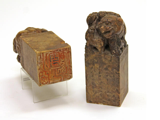 A pair of massive carved soapstone seals