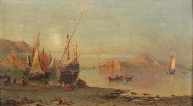 Alessandro La Volpe (Italian, 1820-1887) Fishing boats on the Italian coast 12 1/4 x 23 1/4in