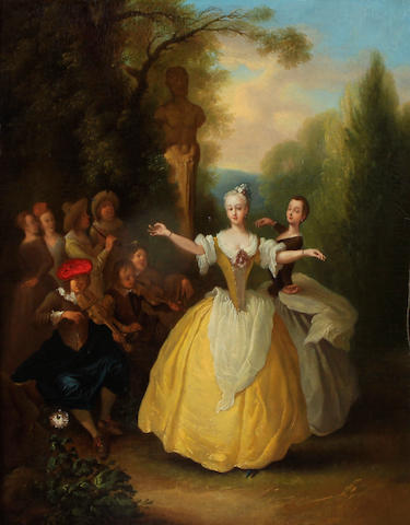 Follower of Nicolas Lancret (French, 1690-1743) An elegant garden party; together with a painting of a similar subject  (a pair) each 24 x 20in