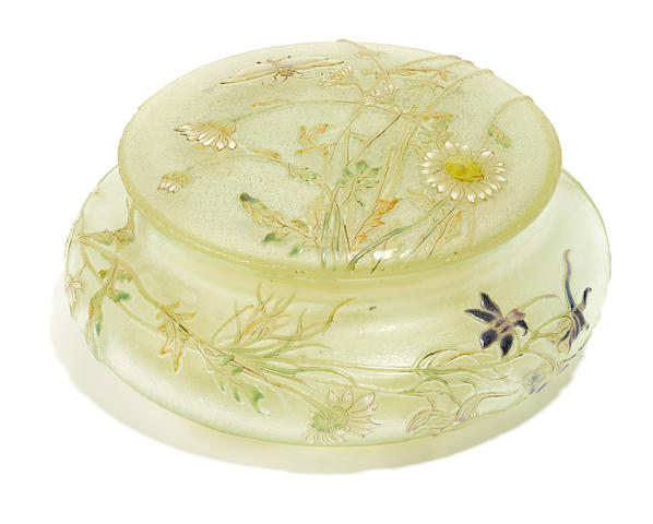 A Gallé gilt and enameled glass covered box circa 1900
