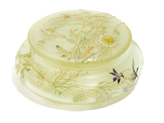 A France green glass circular box with floral and butterfly decoration, signed Galle