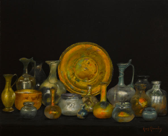 Henry Alexander (American, 1860-1894) Still life with Phoenician glass 22 1/4 x 27 1/4in