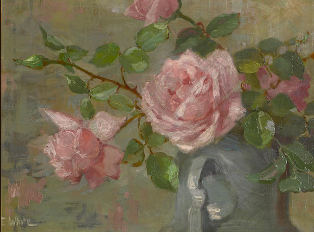 Edith White (American, 1855-1946) Red roses; Pink roses (a pair) first 8 1/2 x 13 1/4in; second 9 x 12in