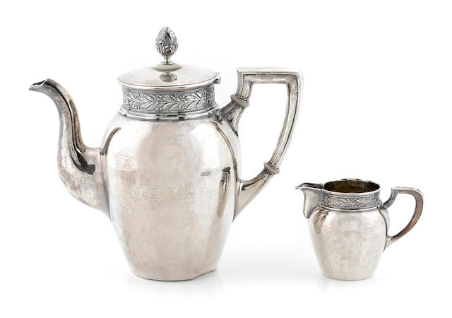 A Swiss 800 standard silver coffee pot and cream jug Jezler AG, Schaffhausen, 20th century
