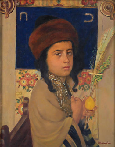 Charles Levine? A portrait of a young Jewish boy 14 x 11in