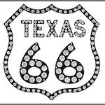 A Texas route 66 reflector sign,
