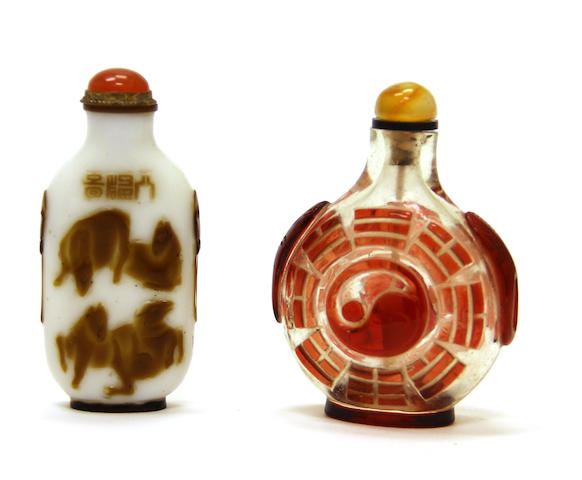 Two glass overlay snuff bottles