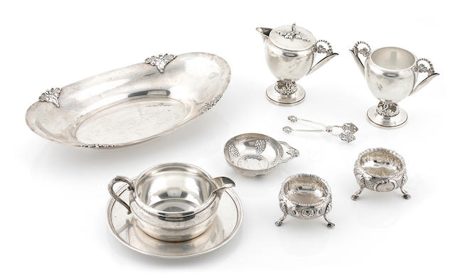A group of American and English sterling silver hollowware and accessories 18th - 20th century