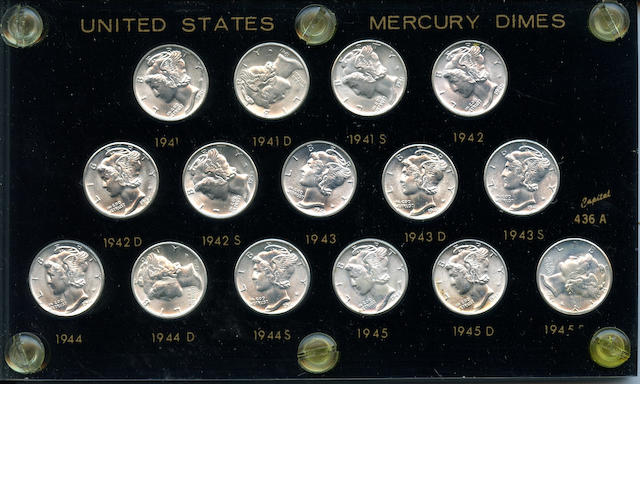 U.S. 15 piece Mercury Dime Set 1941-45S
