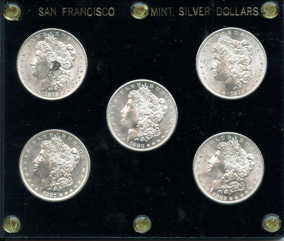 San Francisco Mint Silver Dollar Set 1878-S - 1882-S