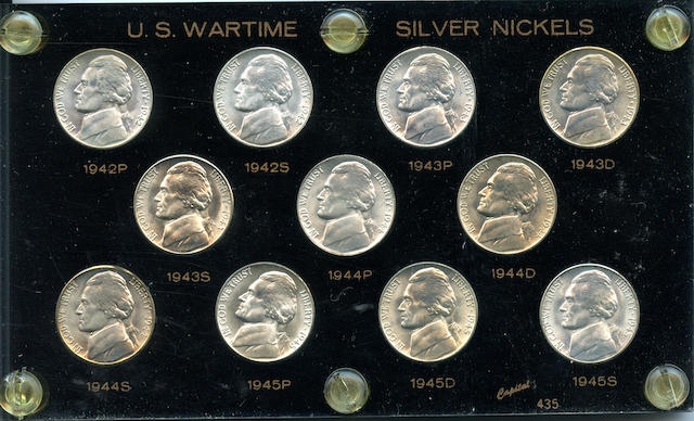 U.S. Wartime Set of Jefferson Nickels 1942-45