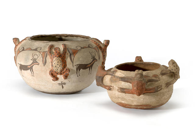 Two Zuni polychrome frog jars