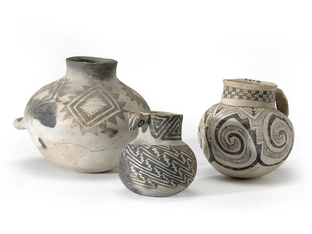 Three Anasazi black-on-white vessels (restoration to all)