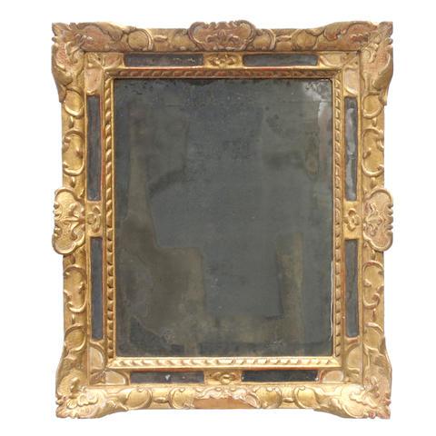 A Louis XVI style giltwood mirror with vitruvian scroll border