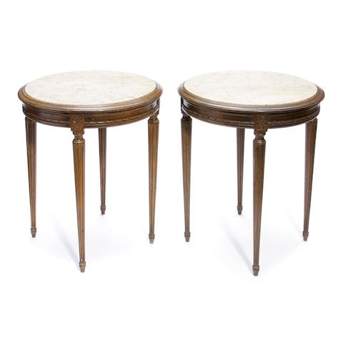 A pair of Louis XVI style beechwood and marble guéridons