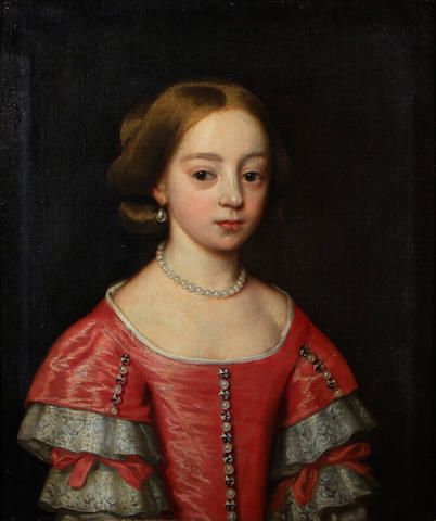 Dutch School, late 17th Century A portrait of a young woman, half-length, in a red dress and pearl necklace 25 1/4 x 20 3/4in