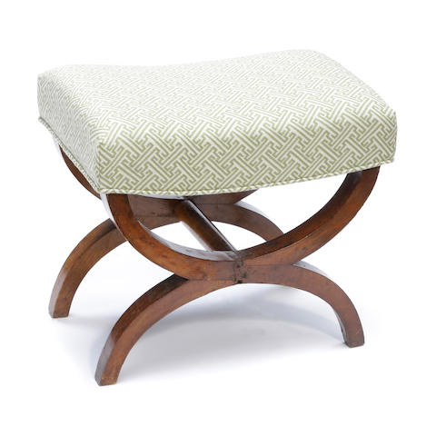 A Directoire fruitwood curule form stool