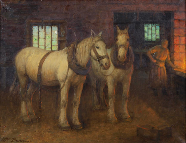 William Barr, Two White horses in the Blacksmith's Shop