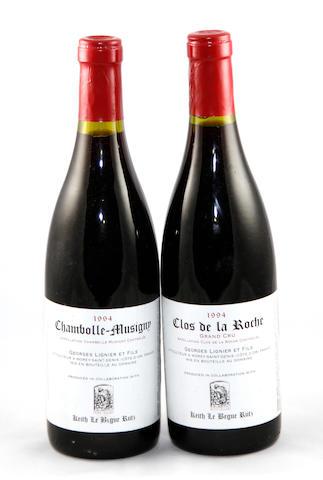 Chambolle-Musigny, G. Lignier 1994 (9)<BR />Clos de la Roche, G. Lignier 1994 (5)