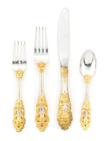 A Gorham parcel-gilt sterling silver 'Golden Crown Baroque' flatware service, last quarter 20th century