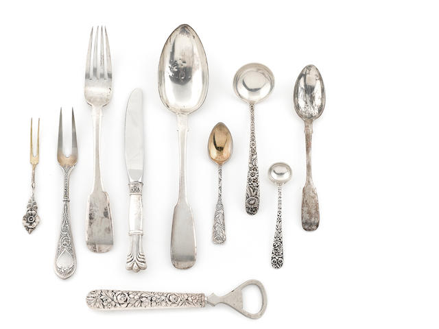 An assembled group of silver flatware American (Gorham & Kirk) sterling and Russian 84 standard, 45 pcs