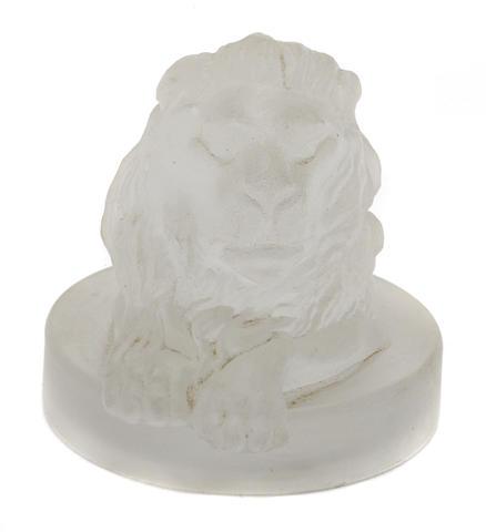 A glass 'Lions Head' mascot,