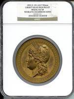 1892 E-101, GILT 90mm Liberty Head High Relief Medal AU58 World's Columbian Expo NGC