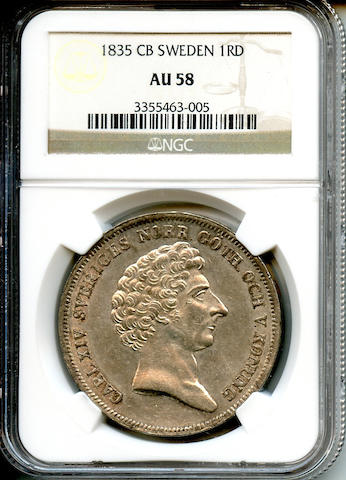 1835 CB Sweden 1RD AU58 NGC