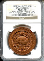 1909 Utah Dollar, Alaska-Yukon Pacific Exposition MS66 Red NGC