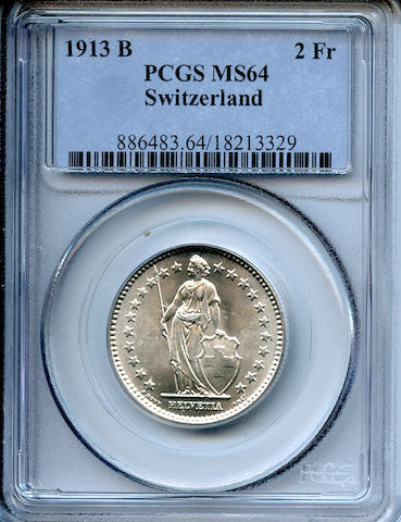 1913 B 2Fr Switzerland MS64 PCGS